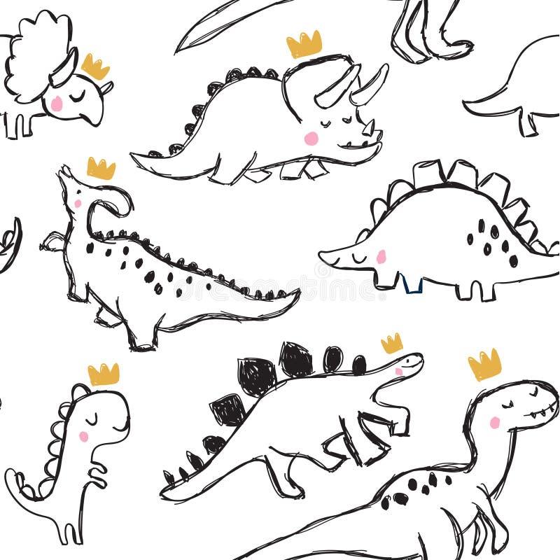 逗人喜爱的恐龙和乱画无缝的样式 向量例证
