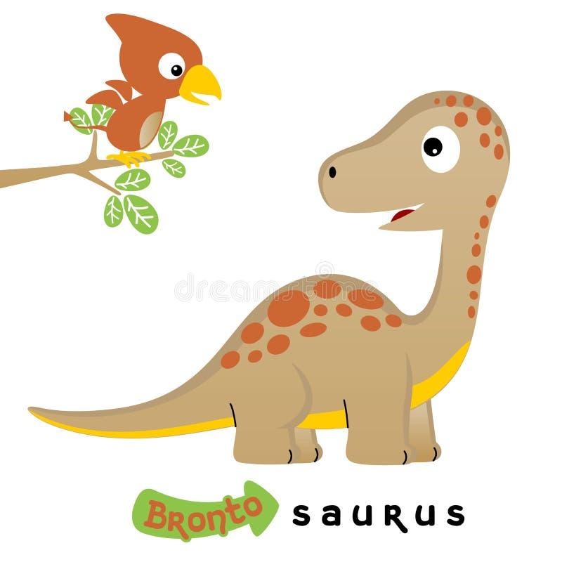 逗人喜爱的恐龙导航在白色背景的动画片例证 皇族释放例证
