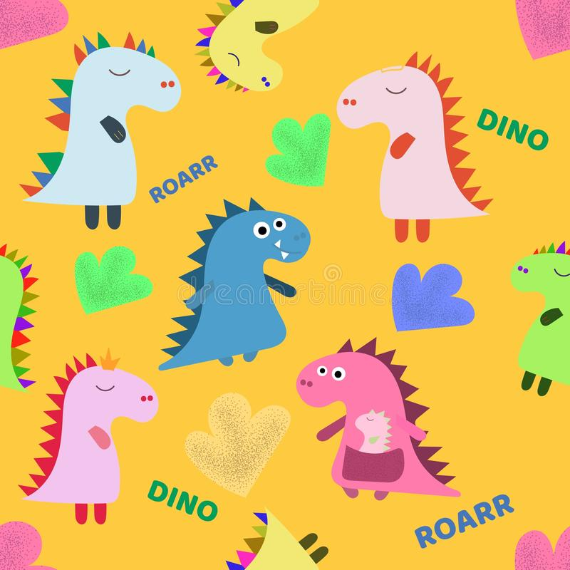 逗人喜爱的恐龙手拉的颜色传染媒介无缝的样式 迪诺字符动画片纹理 剪影侏罗纪爬行动物 网 库存例证