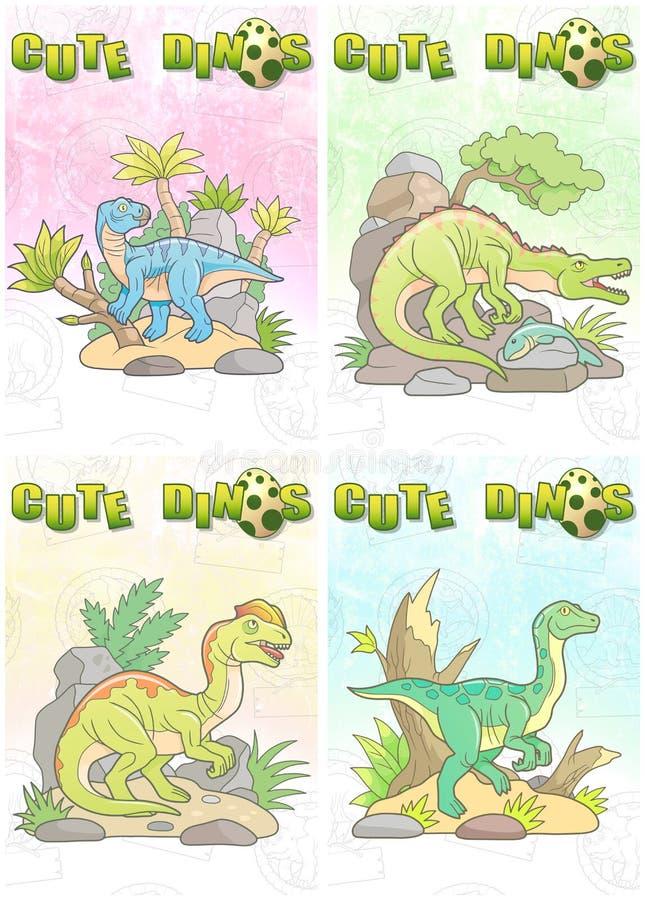 逗人喜爱的恐龙被设置卡片 皇族释放例证