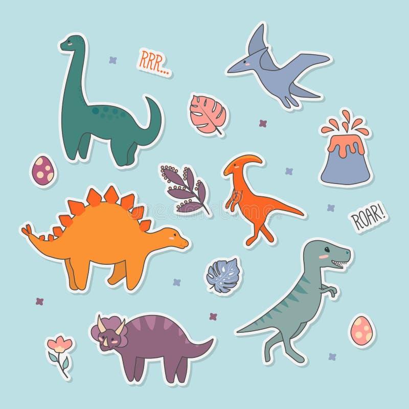 逗人喜爱的恐龙贴纸收藏,史前动物,孩子的逗人喜爱的例证不同  库存例证