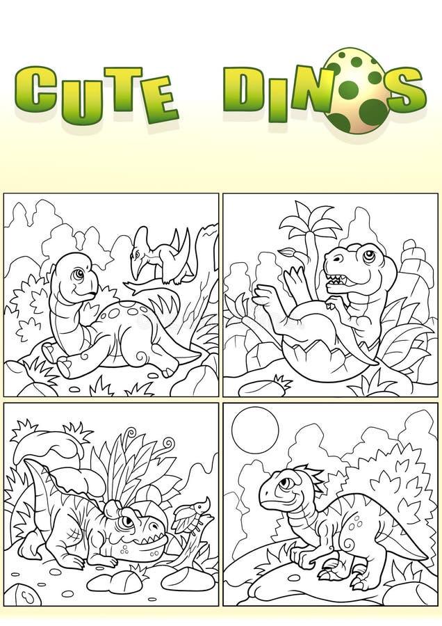 逗人喜爱的恐龙,套图象 向量例证
