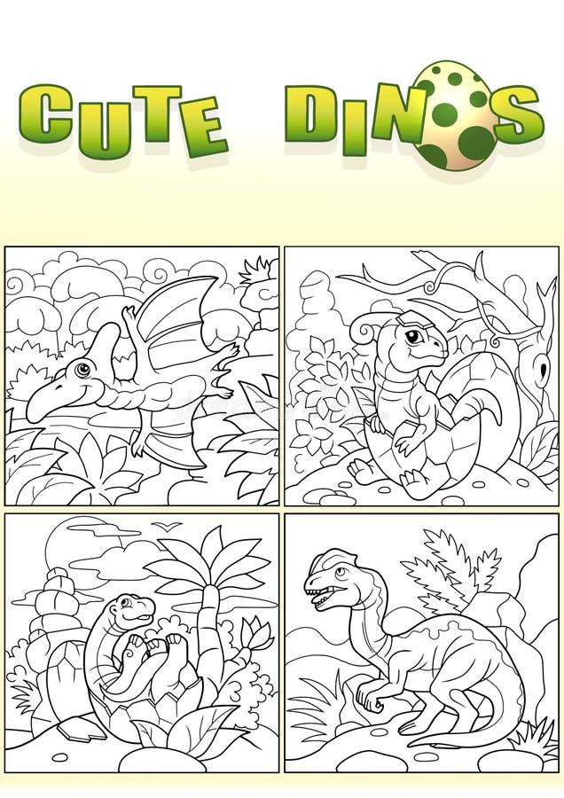 逗人喜爱的恐龙,套图象 库存例证