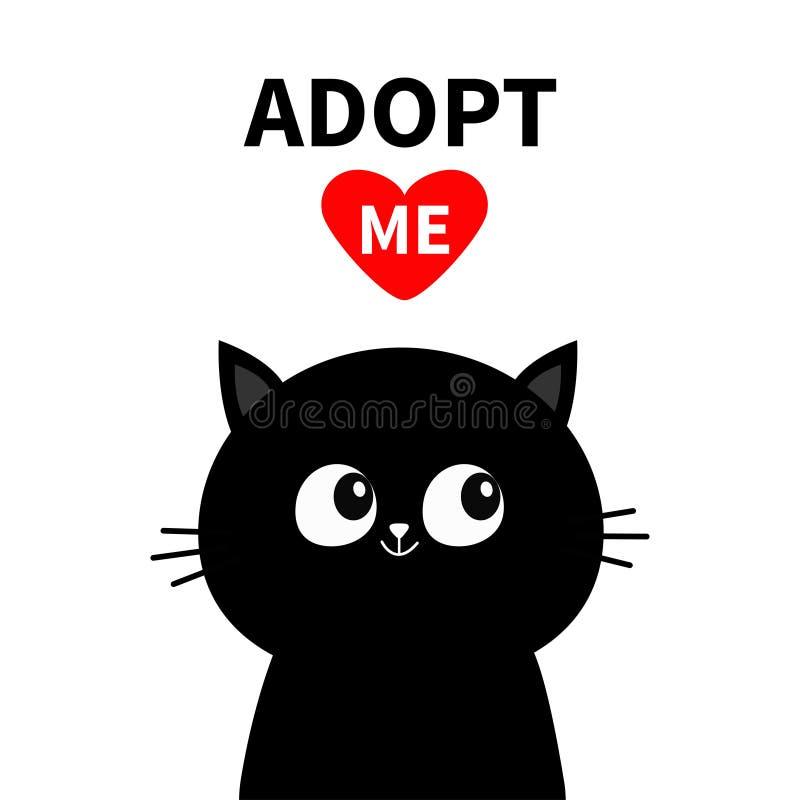 逗人喜爱的恶意嘘声面孔剪影 采取我 红色重点 宠物收养 Kawaii动物 逗人喜爱的动画片全部赌注字符 滑稽的小小猫 皇族释放例证
