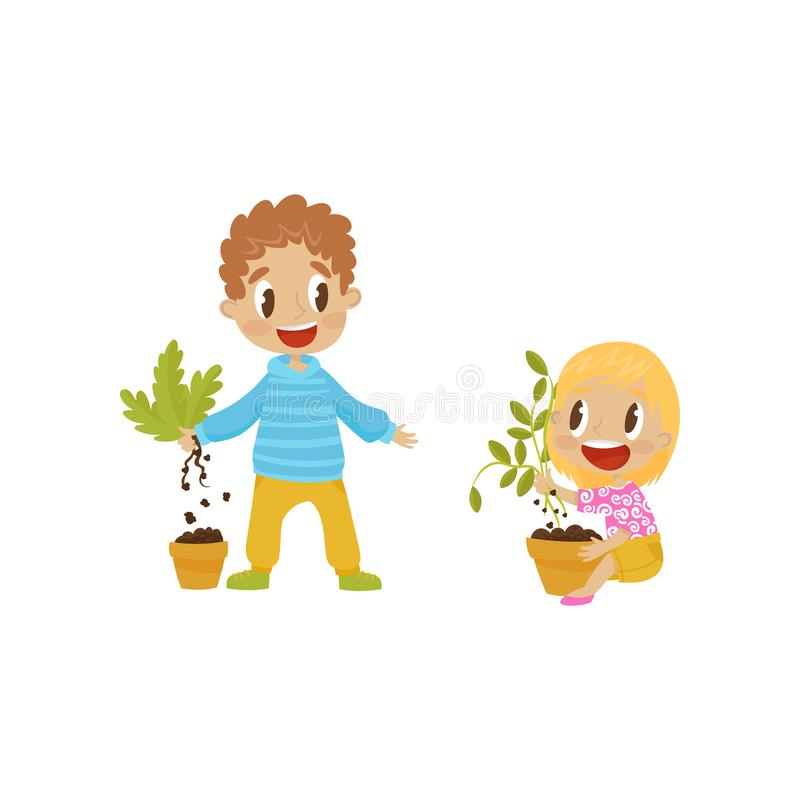 逗人喜爱的恶霸男孩和女孩tearng安置从罐的植物,流氓快乐的孩子,坏儿童行为传染媒介 库存例证