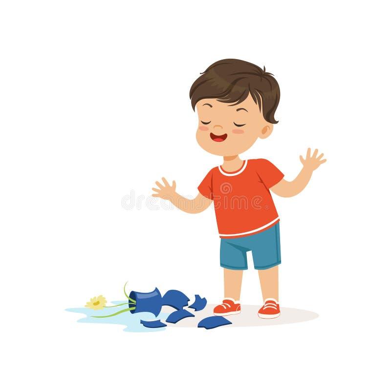 逗人喜爱的恶霸男孩打破了花瓶,流氓快乐的小孩,坏儿童行为传染媒介例证 向量例证