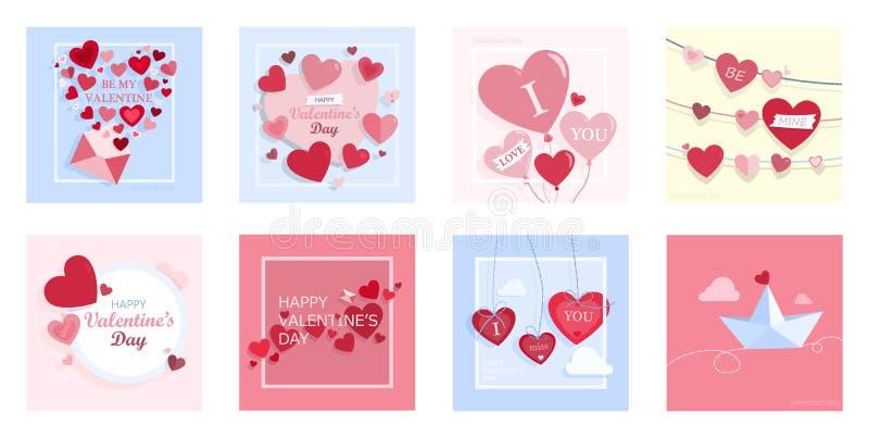 逗人喜爱的您日设计玫瑰华饰集合的华伦泰 库存例证