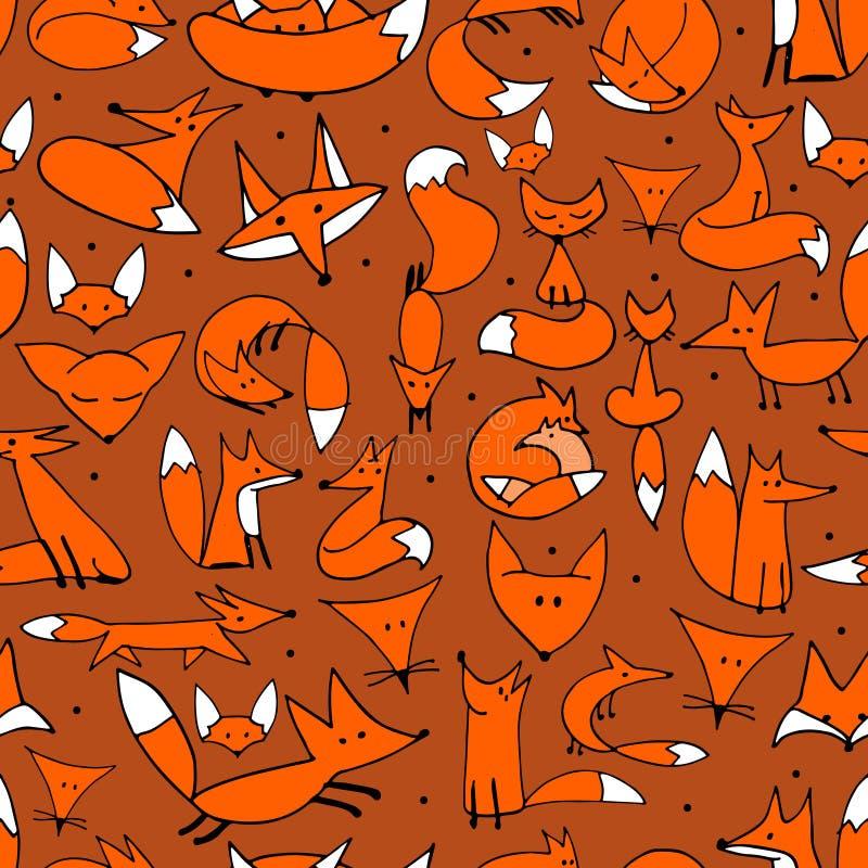逗人喜爱的您的设计的狐狸无缝的样式 皇族释放例证