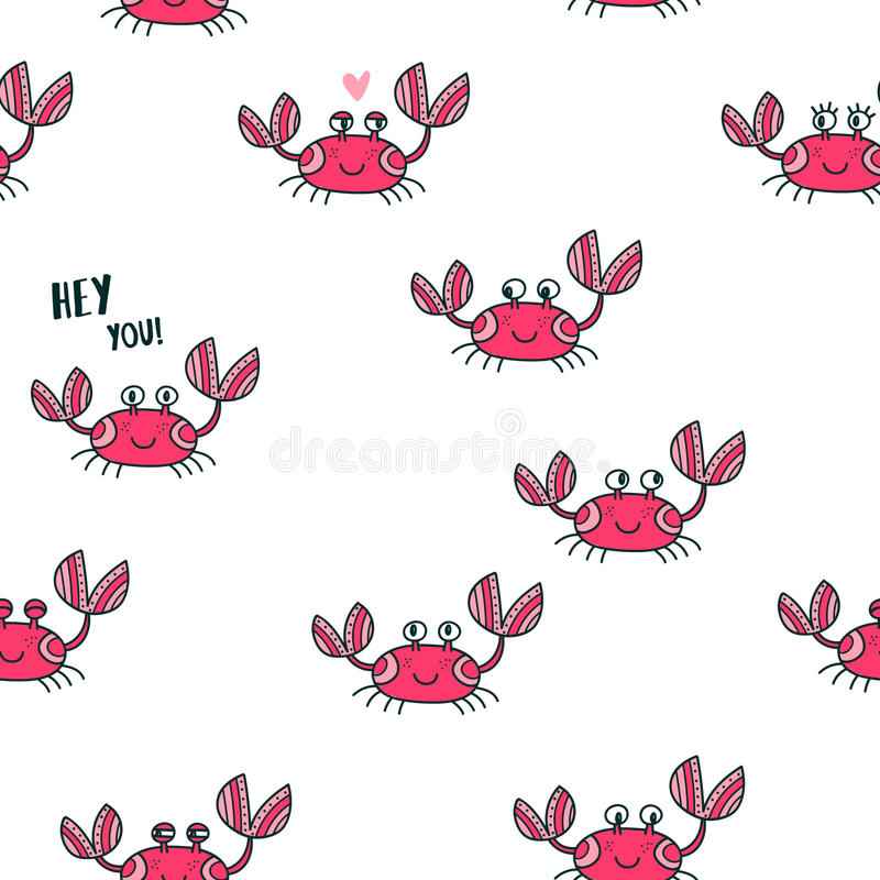 逗人喜爱的情感螃蟹无缝的样式 向量例证