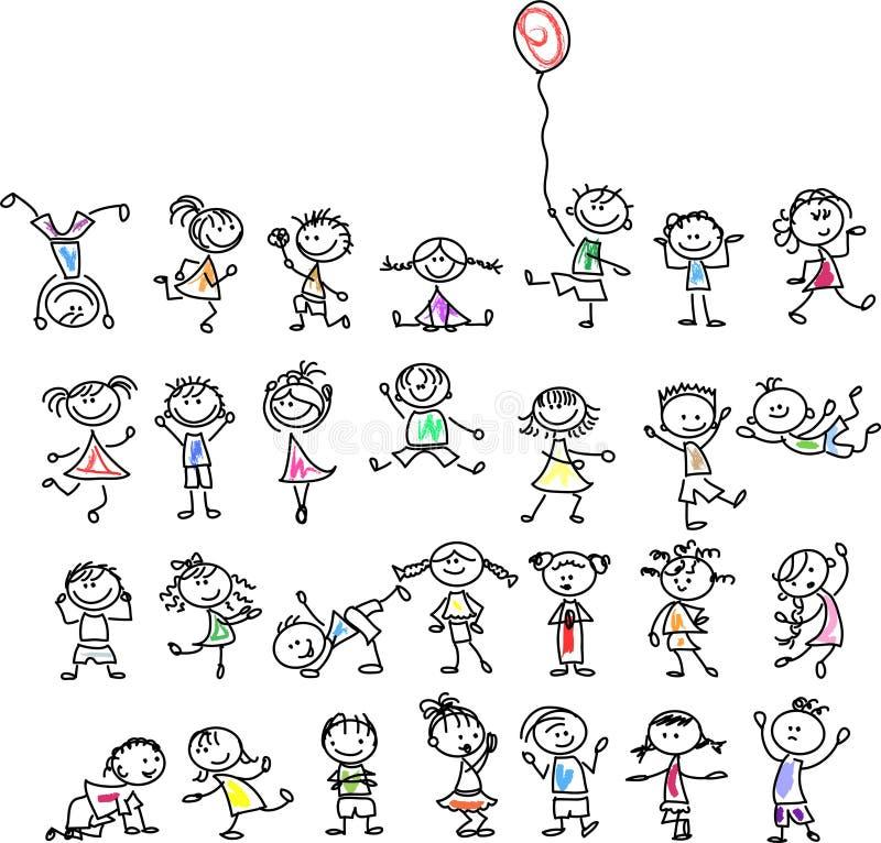 逗人喜爱的愉快的动画片孩子,向量 库存例证