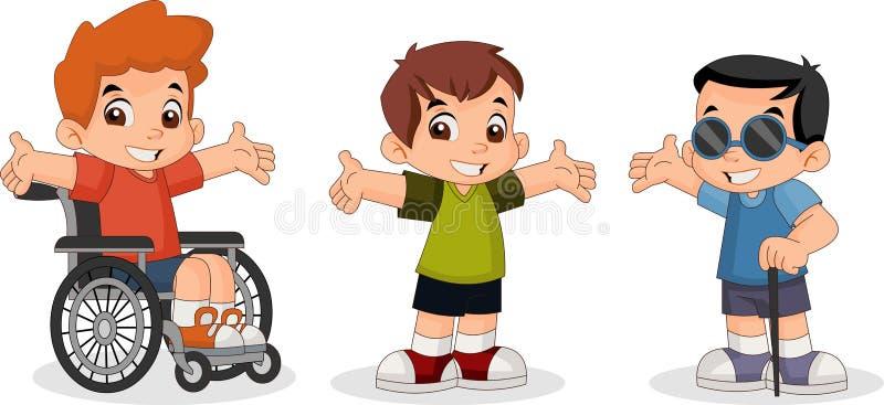 逗人喜爱的愉快的动画片男孩 向量例证