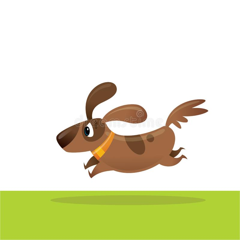 逗人喜爱的愉快的动画片褐色爱犬跑的激动的例证 向量例证