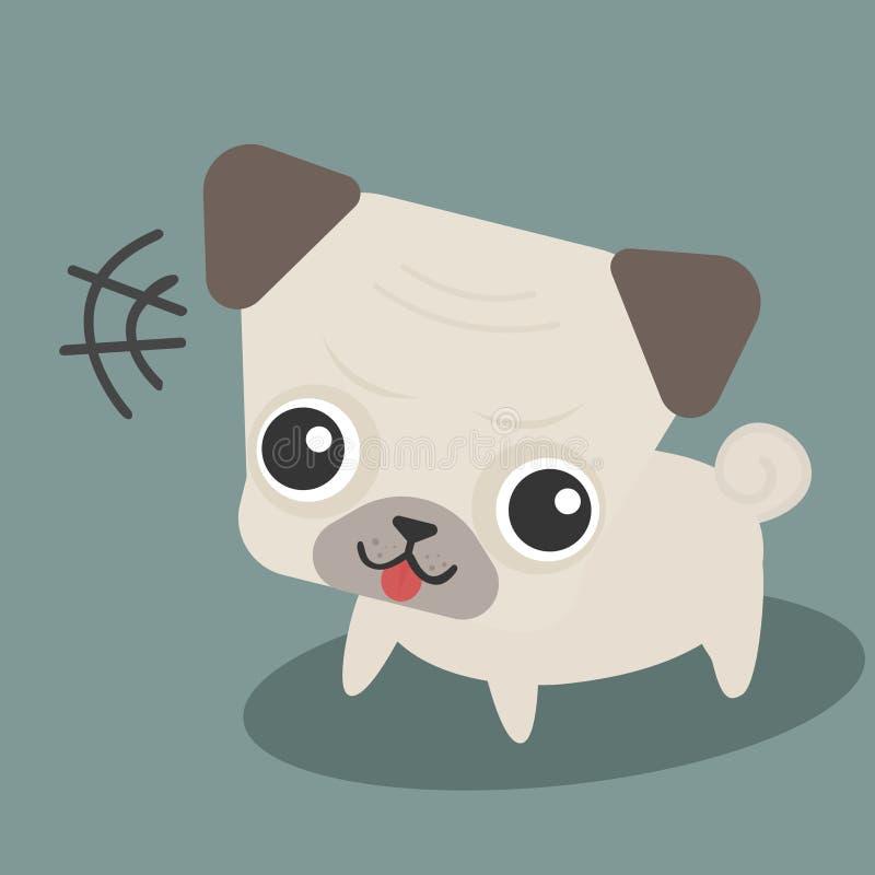 逗人喜爱的愉快的哈巴狗狗动画片可笑的平的设计 向量例证