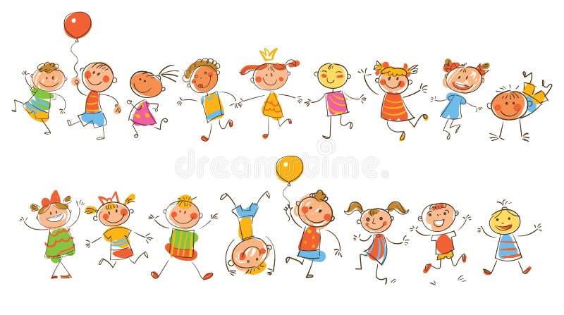 逗人喜爱的愉快的孩子 仿照儿童` s图画样式 向量例证