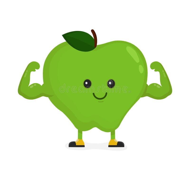 逗人喜爱的愉快的强的微笑的苹果展示肌肉二头肌 皇族释放例证