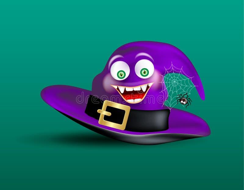 逗人喜爱的愉快的微笑的巫婆紫色帽子和可怕滑稽的蜘蛛在蜘蛛网在深绿背景 万圣夜象或对象 向量例证