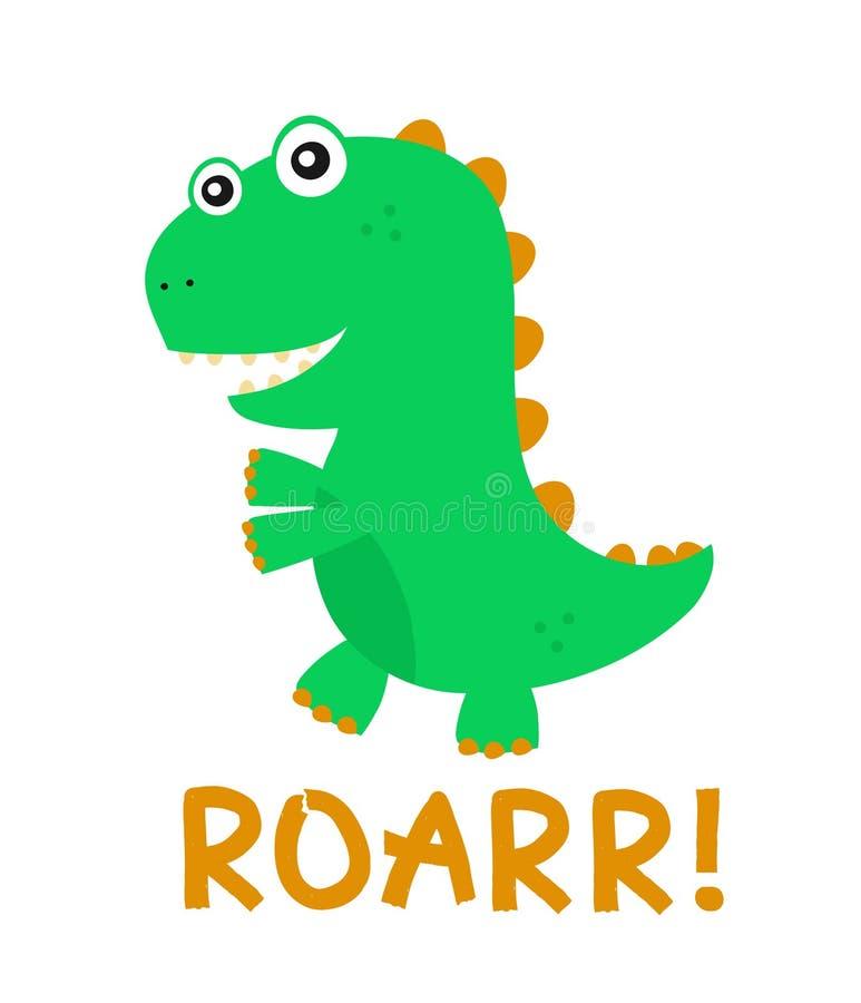 逗人喜爱的愉快的微笑的滑稽的恐龙 向量 库存例证