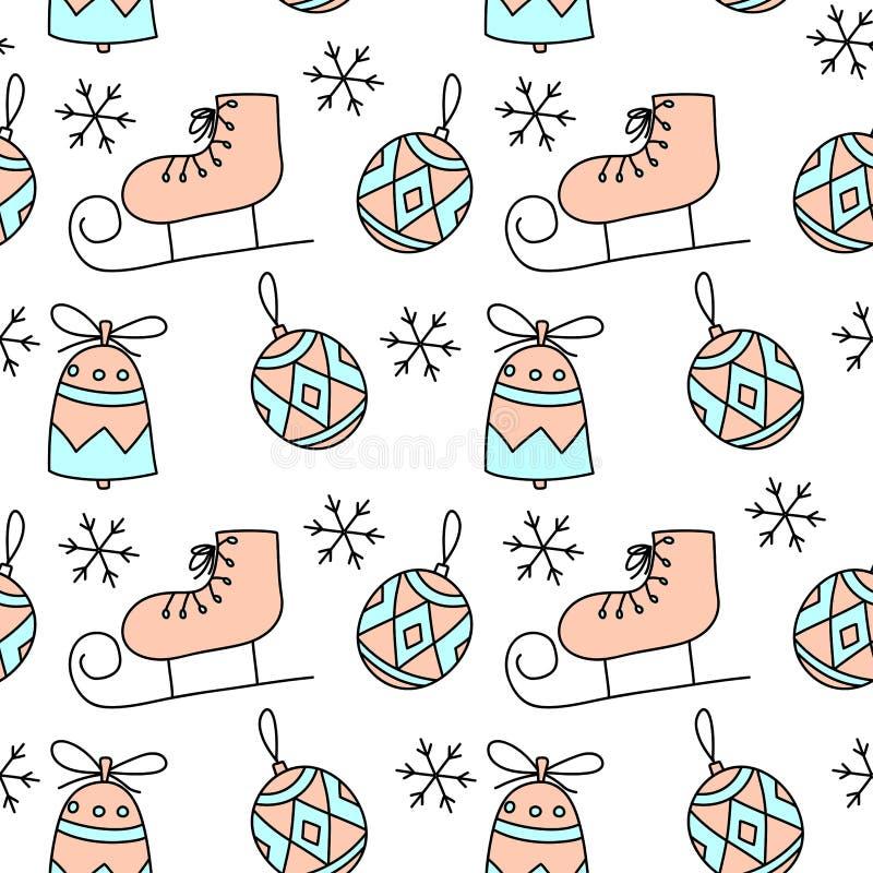 逗人喜爱的手拉的与圣诞节球,雪花,圣诞节铃声的冬天无缝的样式,滑冰 向量例证