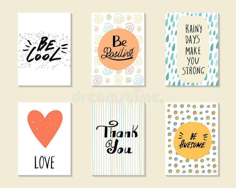 逗人喜爱的手拉的乱画明信片,卡片,盖子 向量例证