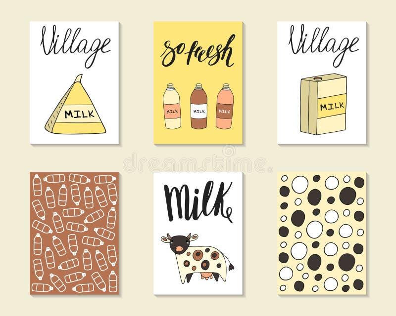 逗人喜爱的手拉的乱画牛奶,食品工业卡片 向量例证