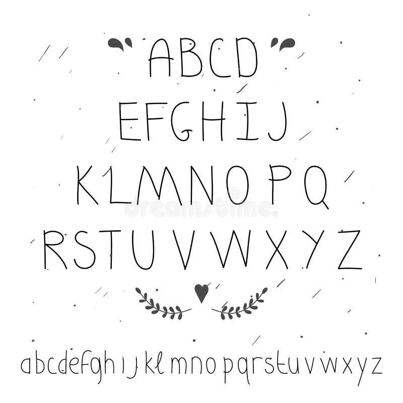 逗人喜爱的手拉的信件 乱画类型 向量例证