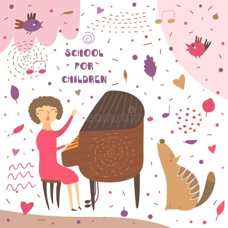 逗人喜爱的手拉的卡片,与音乐教师的明信片 向量例证