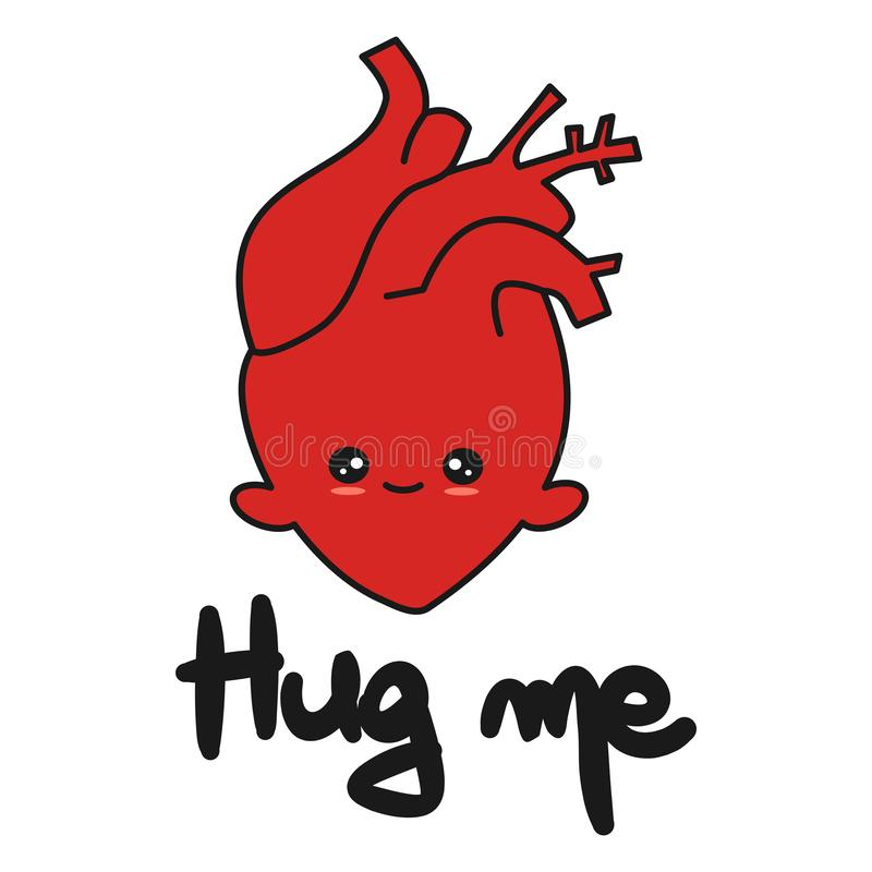 逗人喜爱的手拉的在上写字的拥抱我引述与动画片人的心脏传染媒介例证 皇族释放例证