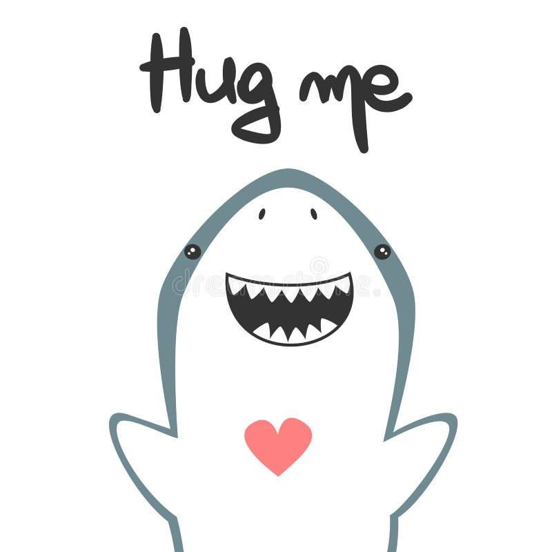 逗人喜爱的手拉的字法拥抱我导航与滑稽的动画片鲨鱼的卡片 库存例证