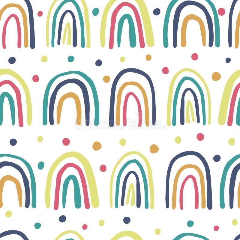 逗人喜爱的手拉的彩虹无缝的样式 圆点墙纸 库存例证