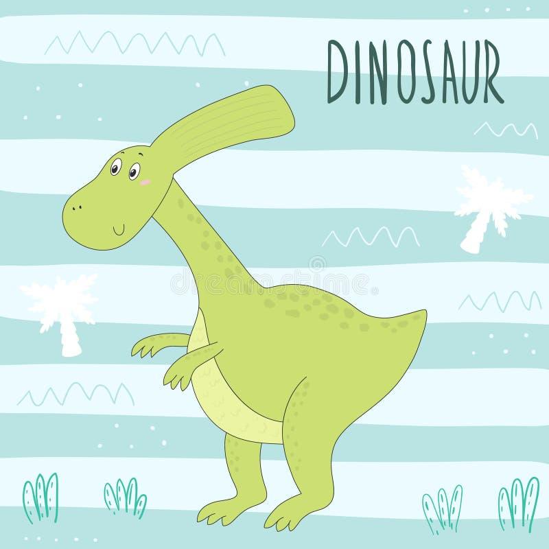 逗人喜爱的手拉的恐龙例证 向量打印 皇族释放例证