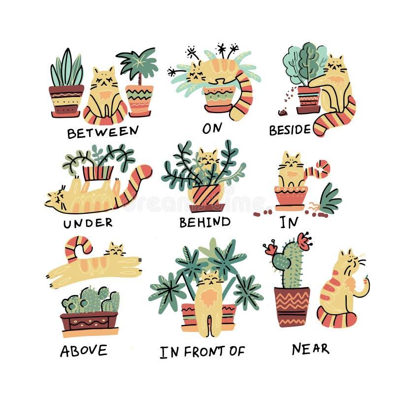 逗人喜爱的手拉的猫字符用与植物罐的不同的姿势 地方英语的介词 学习外国语 向量例证