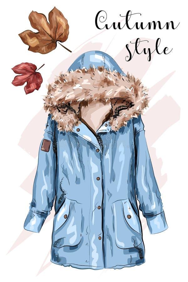 逗人喜爱的手拉的秋天夹克 时髦的冬天夹克 草图 库存例证