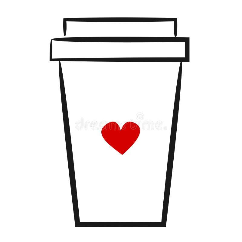 逗人喜爱的手拉的线性例证咖啡纸杯商标 皇族释放例证