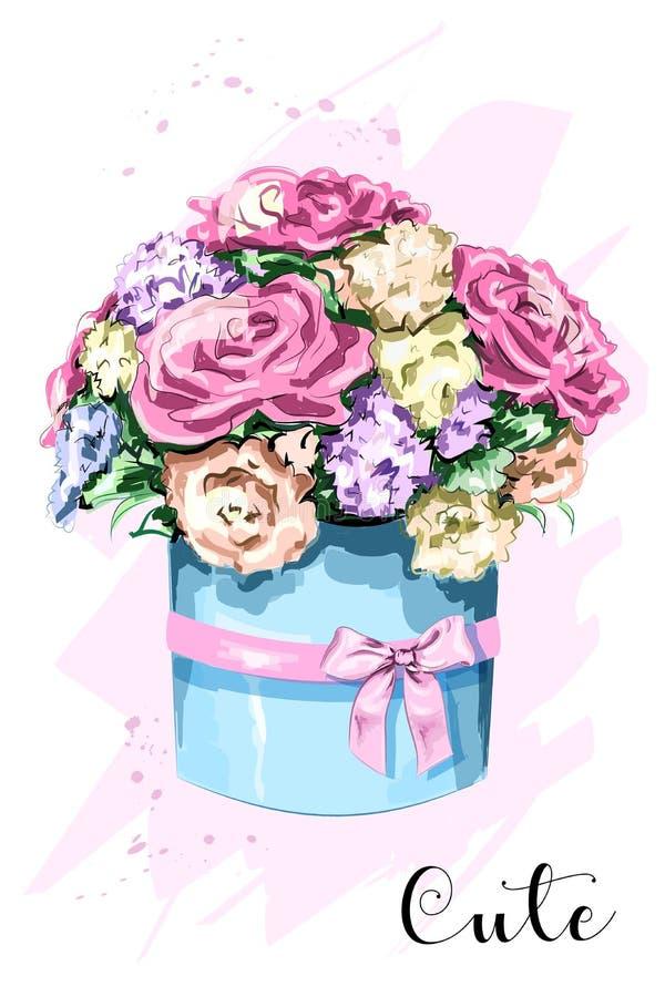 逗人喜爱的手拉的花箱子 与时髦的箱子的美丽的花花束 草图 皇族释放例证