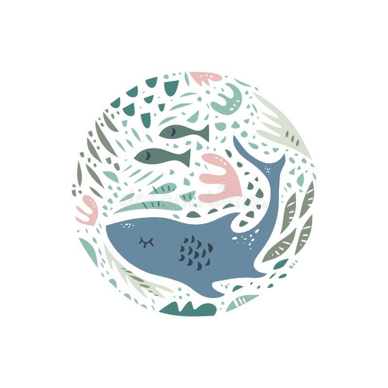 逗人喜爱的手拉的颜色传染媒介圈子样式 海字符动画片样式 剪影动物 网,标签,装饰服装 向量例证