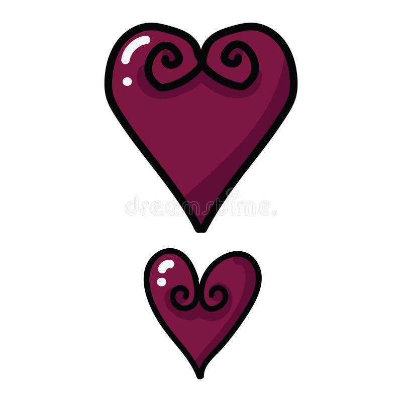 逗人喜爱的打旋的华伦泰心脏动画片传染媒介例证主题集合 手拉的被隔绝的浪漫夫妇标志 库存例证