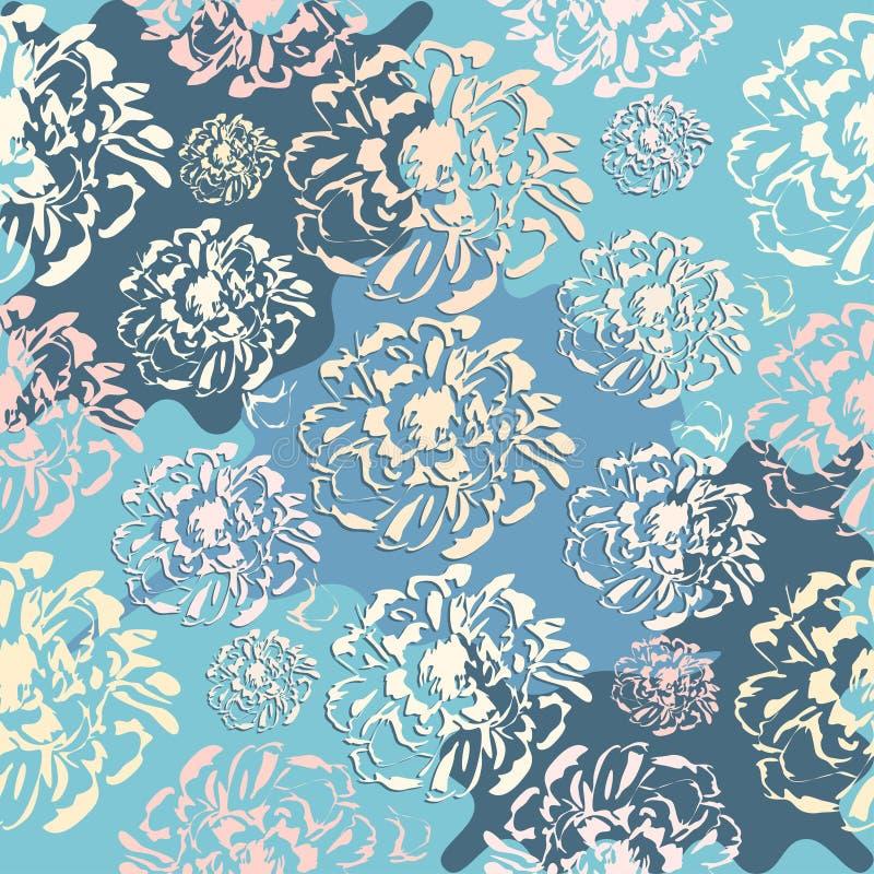 逗人喜爱的抽象花卉无缝的样式 库存例证