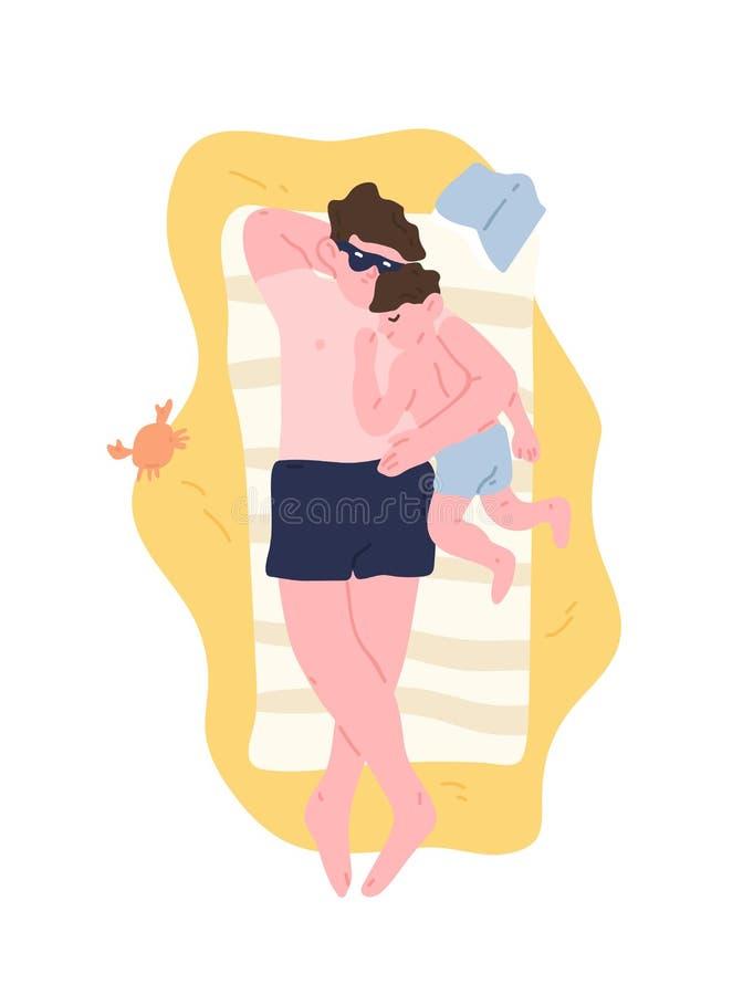 逗人喜爱的拥抱爸爸和的儿子说谎在沙滩,放松和 可爱的晒日光浴在避暑胜地的父亲和孩子 向量例证