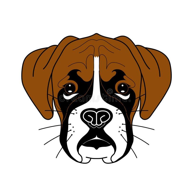 逗人喜爱的拳击手小狗的例证与大棕色耳朵和黑鼻子的在传染媒介 皇族释放例证