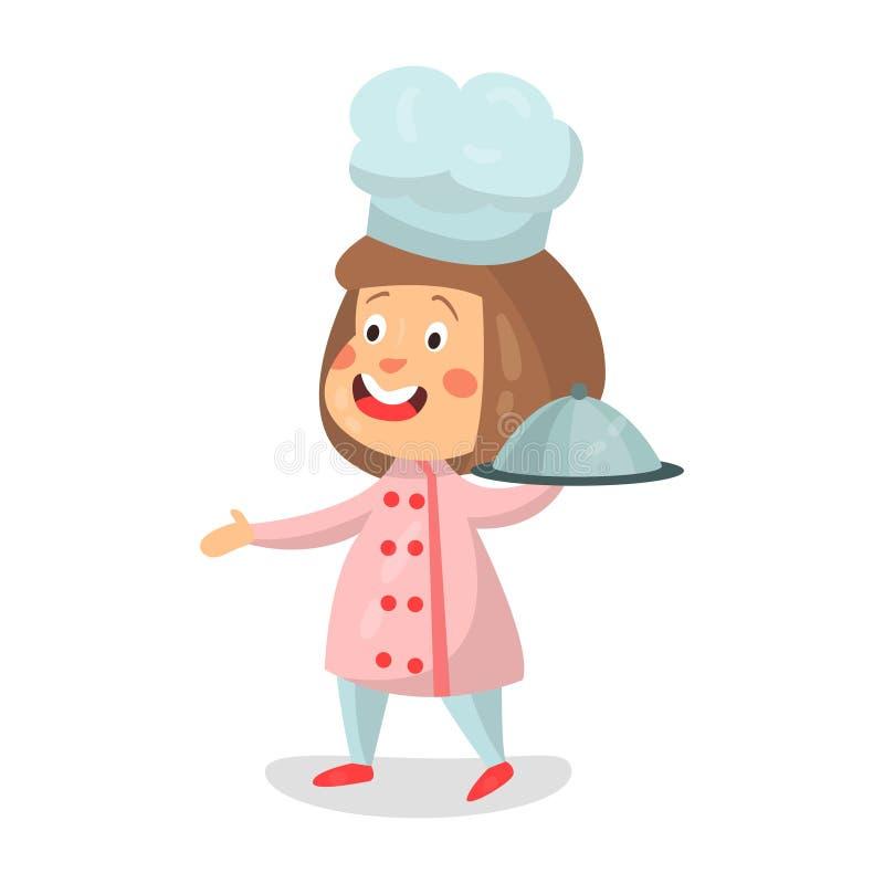 逗人喜爱的拿着钓钟形女帽盛肉盘例证的动画片微笑的小女孩厨师字符 库存例证