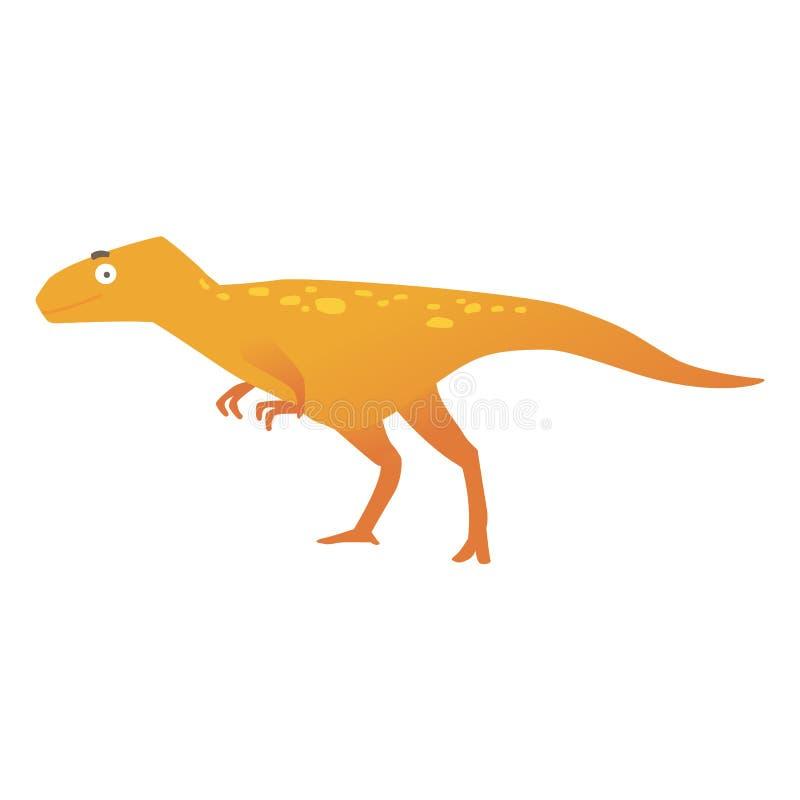 逗人喜爱的掠食性棕色恐龙或迪诺动画片平的样式的 向量例证