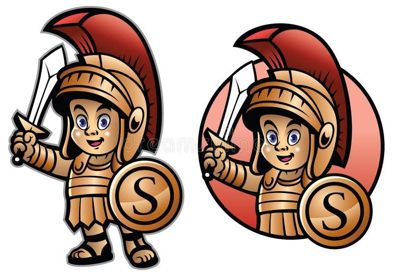 逗人喜爱的斯巴达孩子动画片 皇族释放例证
