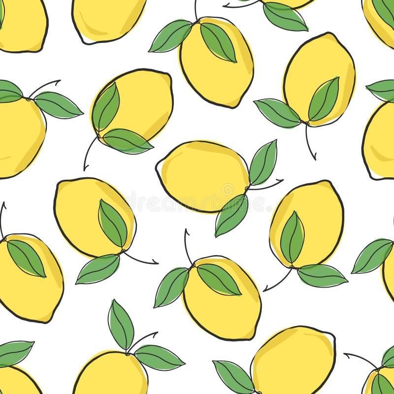 逗人喜爱的新柠檬黄色的在白色背景的传染媒介重复无缝的样式 向量例证