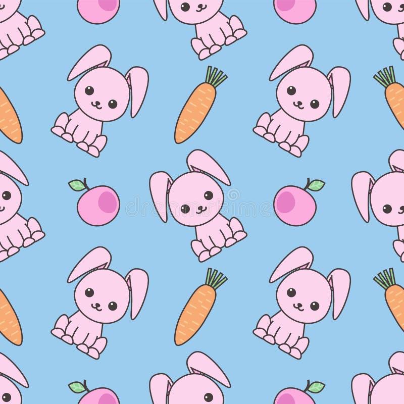 逗人喜爱的无缝的样式用动画片滑稽的兔子 幼稚背景 传染媒介kawaii例证 向量例证