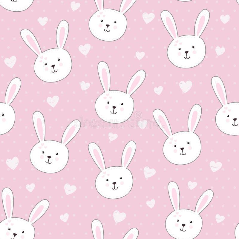 逗人喜爱的无缝的样式用在幼稚样式的兔子 皇族释放例证