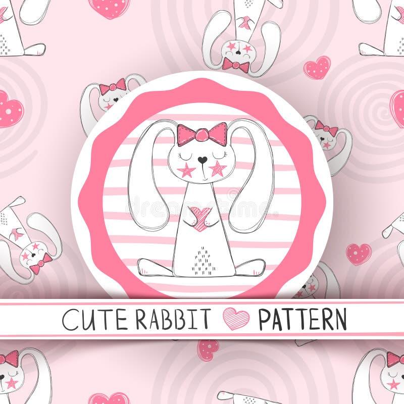 逗人喜爱的无缝的样式-兔子动画片 向量例证