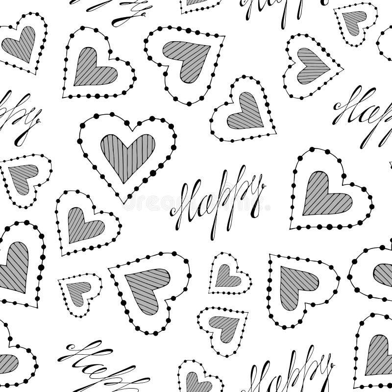 逗人喜爱的无缝的浪漫传染媒介样式与心脏和与题字 向量例证