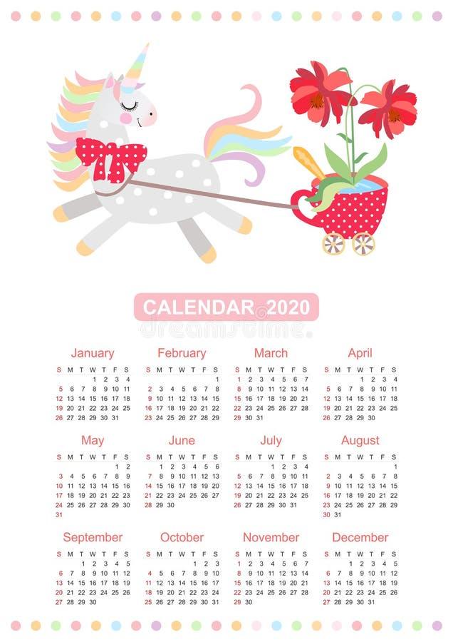 逗人喜爱的日历与小马的2020年-独角兽利用用车运送以在铸工的红色杯子的形式有美丽的花的 向量例证