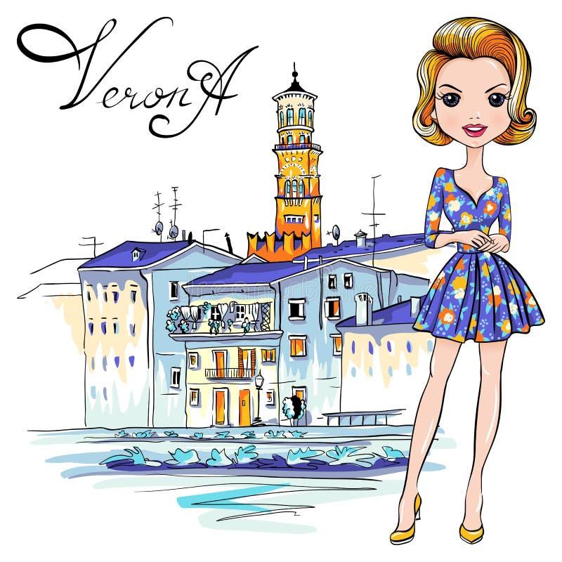 逗人喜爱的时尚女孩在维罗纳,意大利 库存例证