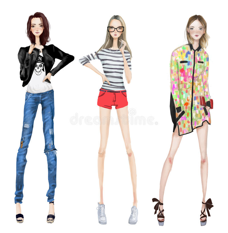 逗人喜爱的时尚女孩 库存例证